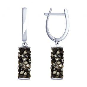 Серьги из серебра с чёрными кристаллами Swarovski 94023182 SOKOLOV
