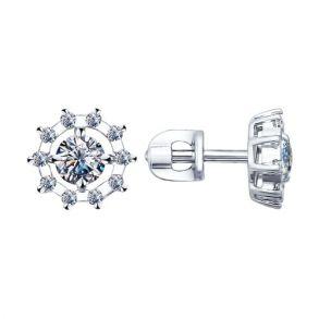 Серьги-пусеты из серебра с фианитами 94021762 SOKOLOV