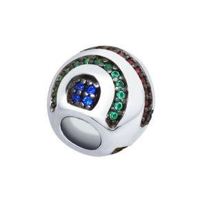 Подвеска из серебра с зелеными, красными и синими фианитами 94031797 SOKOLOV