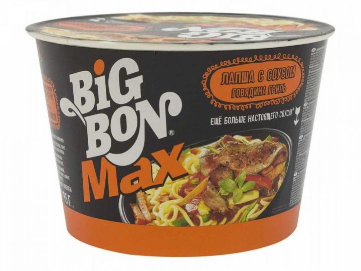 Лапша BigBon говядина с соусом гриль 95г (Ведро)