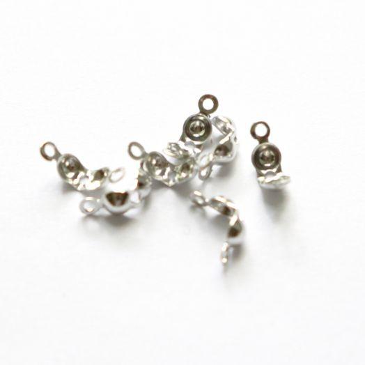 Концевики-скуфейки, Светлое серебро, 30 шт/упак