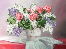 НЛ-4005 Маричка. Розы и Сирень. А4 (вышивание лентами)