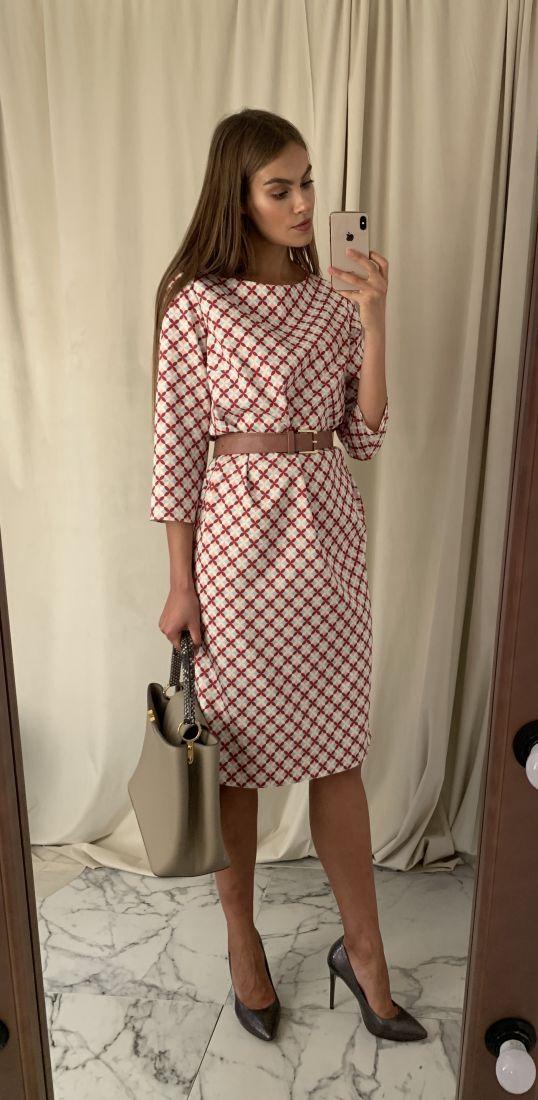 s1510 Платье прямое с лаконичным цветным принтом