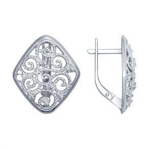 Серьги из серебра с фианитами 94022426 SOKOLOV