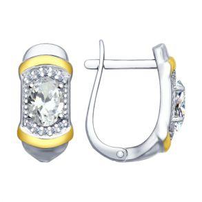 Серьги из серебра с фианитами 94022643  SOKOLOV