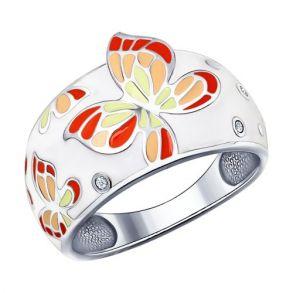 Белое кольцо с яркими бабочками 94011495 SOKOLOV