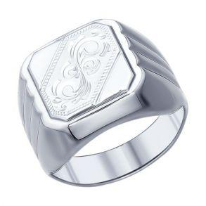 Печатка из серебра с гравировкой 94011507 SOKOLOV