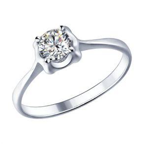 Помолвочное кольцо из серебра с фианитом 94011534 SOKOLOV