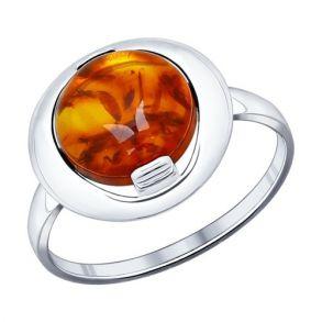 Кольцо из серебра с янтарём (пресс. 94011821 SOKOLOV
