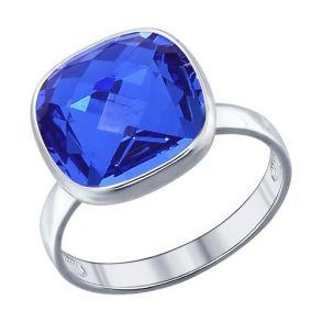 Кольцо из серебра с синим кристаллом swarovski 94011875 SOKOLOV