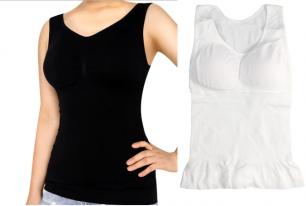 майка корректирующая с паралоновыми вставками в груди, размер S M L