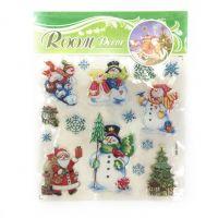 Новогодние наклейки на окна Room Decor, 26х21 см, рисунок Снеговики (2)