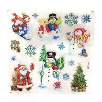 Новогодние наклейки на окна Room Decor, 26х21 см, рисунок Снеговики (1)
