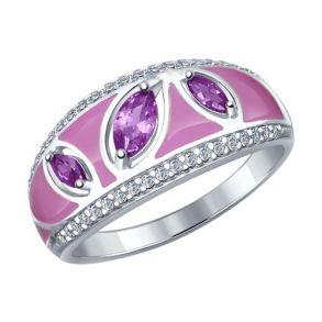 Кольцо из серебра с эмалью с бесцветными и сиреневыми фианитами 94011999 SOKOLOV