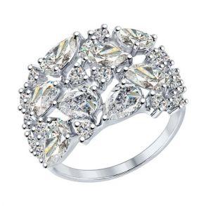 Кольцо из серебра с фианитами 94012236 SOKOLOV