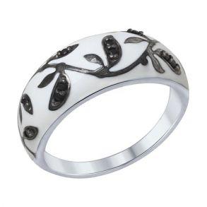 Кольцо из серебра с эмалью с чёрными фианитами 94012307 SOKOLOV