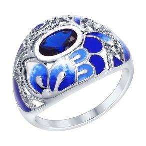 Кольцо из серебра с эмалью 94012373 SOKOLOV