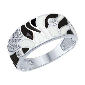 Кольцо из серебра с эмалью и фианитами 94012448 SOKOLOV