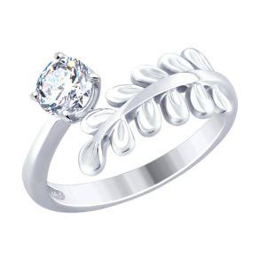 Кольцо из серебра с фианитом 94012477 SOKOLOV