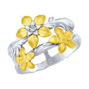 Кольцо из золочёного серебра с фианитом 94012509 SOKOLOV