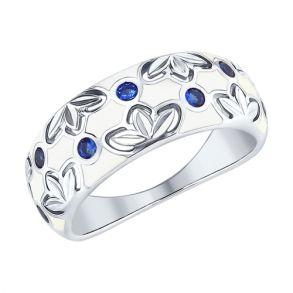 Кольцо из серебра с эмалью и фианитами 94012510 SOKOLOV