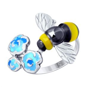 Кольцо из серебра с эмалью «Пчёлка» 94012658 SOKOLOV