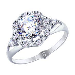Кольцо из серебра с фианитами 94012758 SOKOLOV