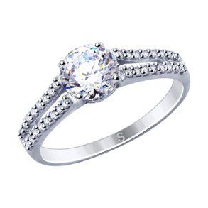 Кольцо из серебра с фианитами 94012809 SOKOLOV