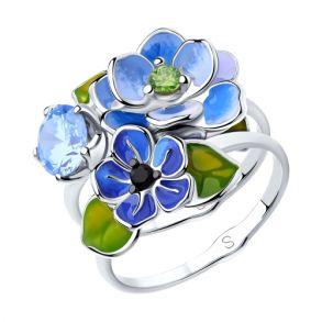 Кольцо из серебра с эмалью и фианитами 94012953 SOKOLOV