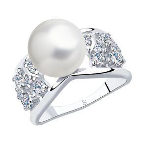 Кольцо из серебра с жемчугом и фианитами 94012993 SOKOLOV