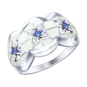 Кольцо из серебра с эмалью и фианитами 94012541 SOKOLOV