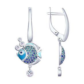 Серьги из серебра «Рыбки» 94022810 SOKOLOV