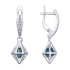 Серьги из серебра с голубыми кристаллами Swarovski и фианитами 94022909 SOKOLOV