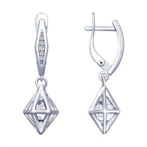 Серьги из серебра с бесцветными кристаллами Swarovski и фианитами 94022910 SOKOLOV