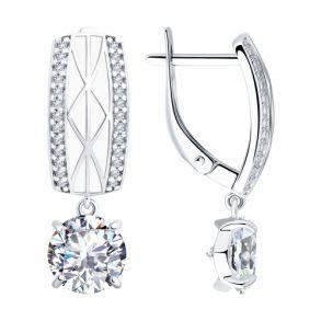 Серьги из серебра с эмалью и фианитами 94023427 SOKOLOV