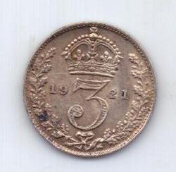 3 пенса 1921 года AUNC Великобритания
