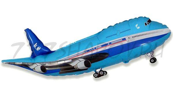 Фигура, Самолет, Синий, 100 см с гелием