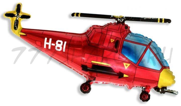 Фигура, Вертолет, Красный, 100 см с гелием
