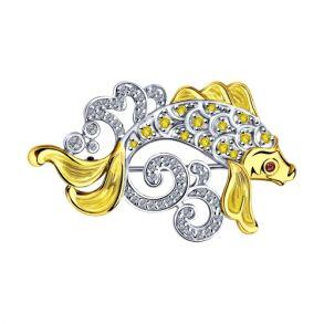 Брошь из золочёного серебра с эмалью и фианитами 94040157 SOKOLOV
