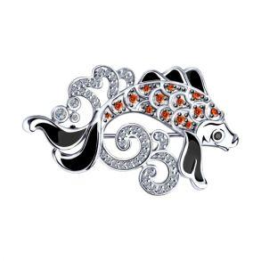 Брошь из серебра с эмалью и фианитами 94040154 SOKOLOV