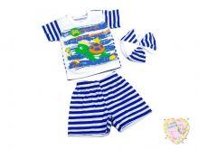 Костюм в полоску с черепахой: берет, футболка, шорты kA-KS469(2)-SUk(t) (код 01823) оптом Мамин Малыш