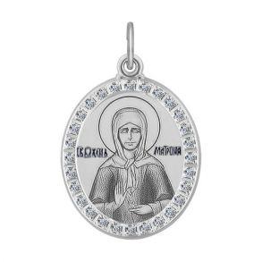 Иконка из серебра «Божья Матерь Семистрельная» 94100212 SOKOLOV