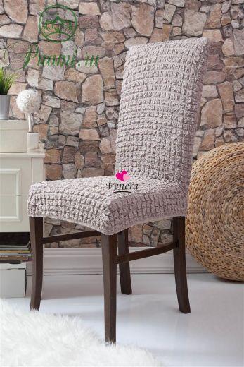 Набор чехлов для стульев 6 шт без оборки,Жемчужный