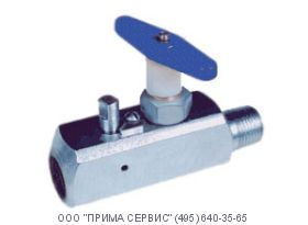 Вентиль стальной прямоточный под манометр ВПЭМ 5х70 ХЛ К1/2-Н М20х1,5-В, Ру=70 Мпа