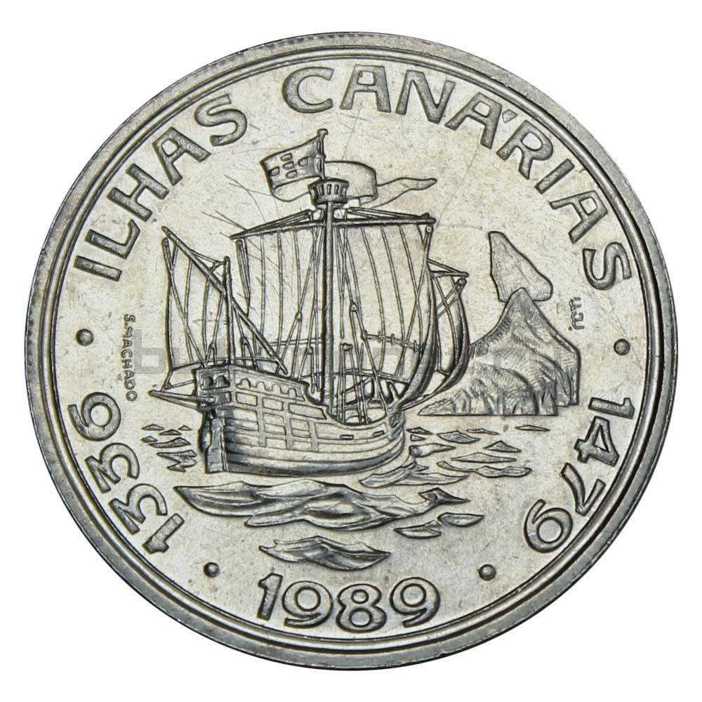 100 эскудо 1989 Португалия Открытие Канарских островов (Золотой век открытий)