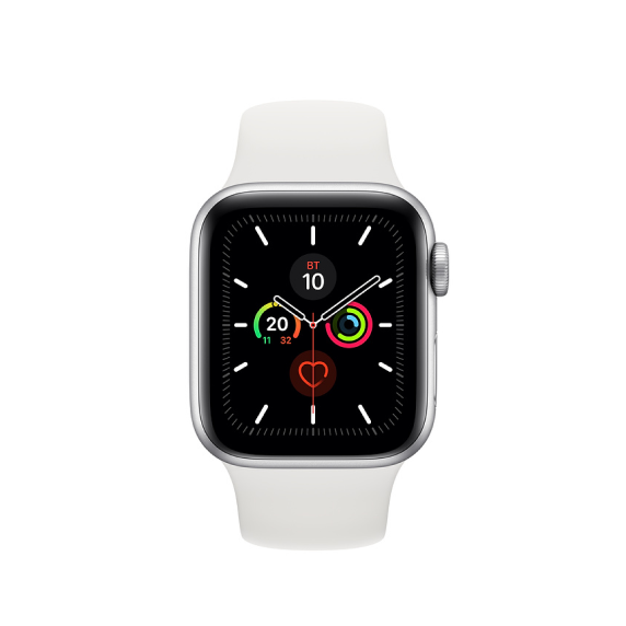 Apple Watch, 40 мм, Корпус из алюминия серебристого цвета, спортивный ремешок белого цвета