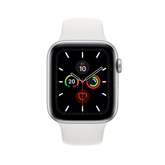Apple Watch, 44 мм, Корпус из алюминия серебристого цвета, спортивный ремешок белого цвета