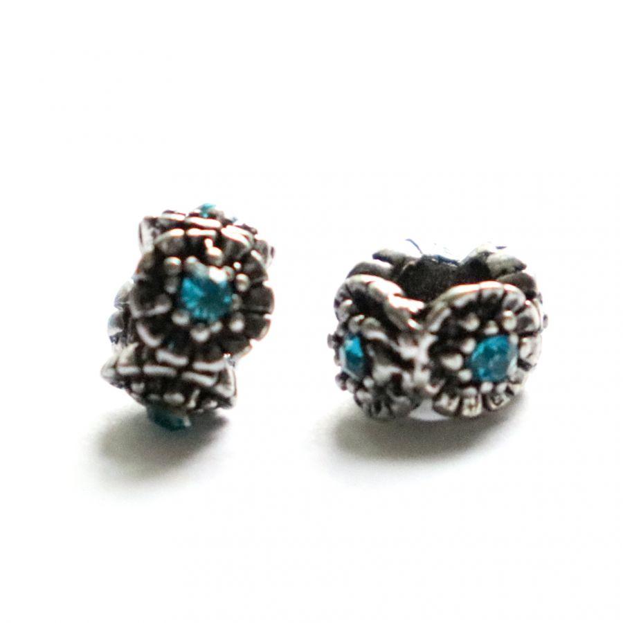 Бусина в стиле Пандора (Pandora), Металлическая со стразами Цветок