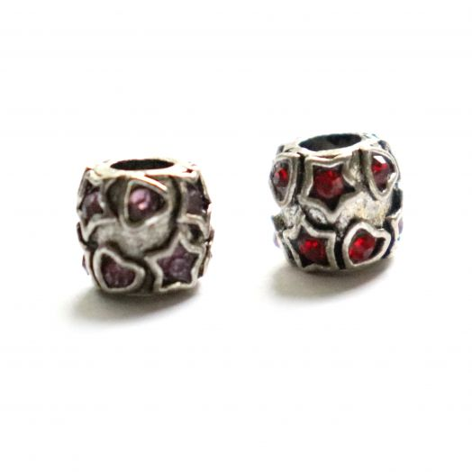 Бусина в стиле Пандора (Pandora), Металлическая со стразами, Звезды и сердца