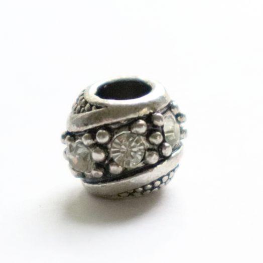 Бусина в стиле Пандора (Pandora), Металлическая со стразами, Изящная